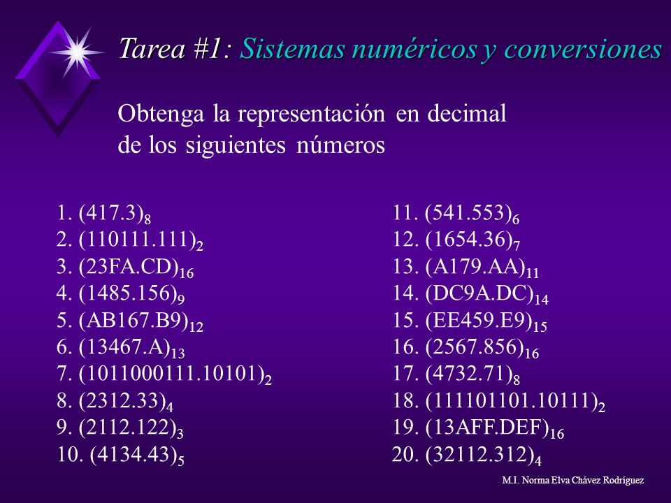 Tarea #1: Sistemas numéricos y conversiones