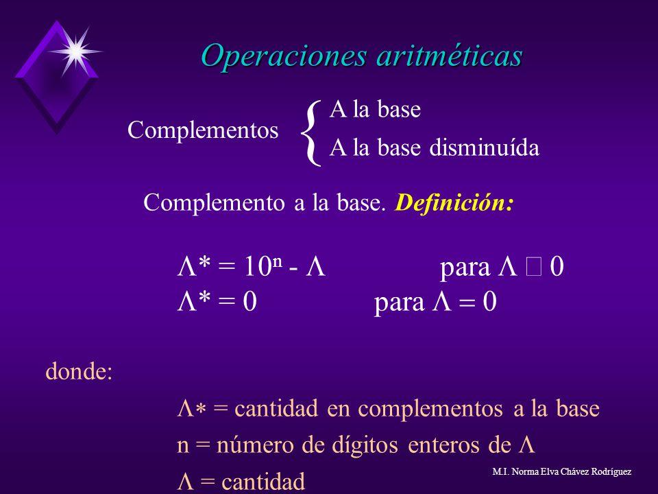 { Operaciones aritméticas L* = 0 para L = 0 A la base Complementos