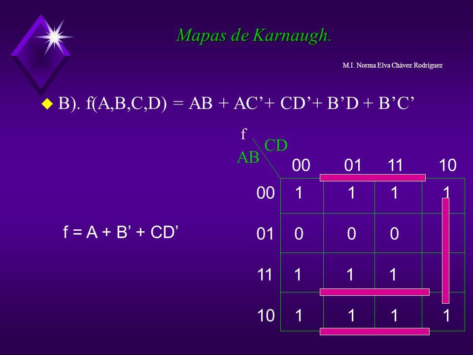 B). f(A,B,C,D) = AB + AC'+ CD'+ B'D + B'C'