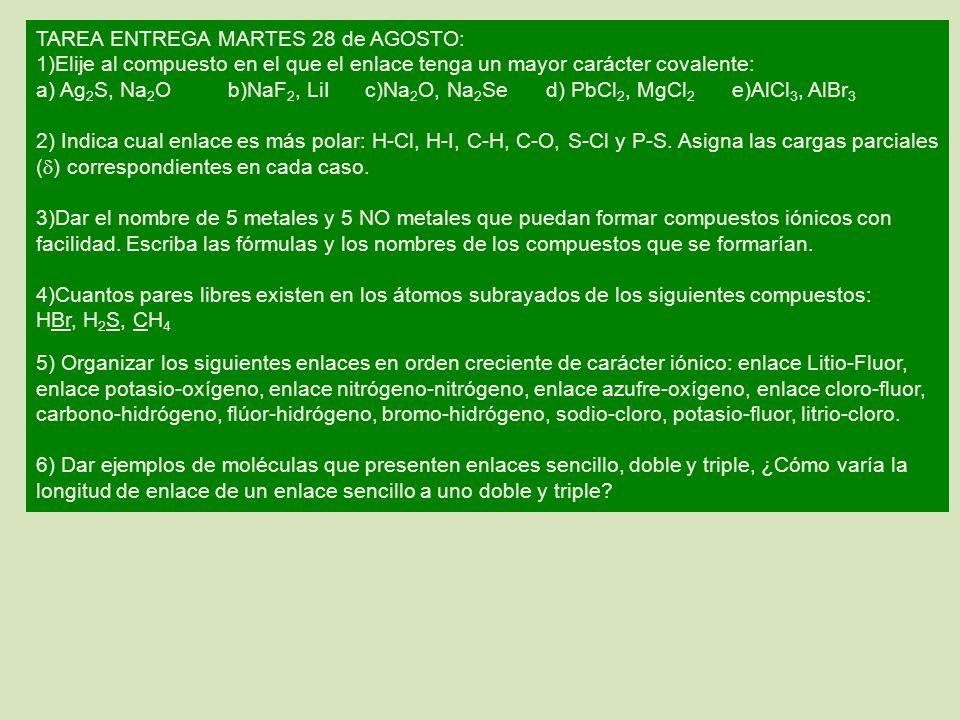 TAREA ENTREGA MARTES 28 de AGOSTO: