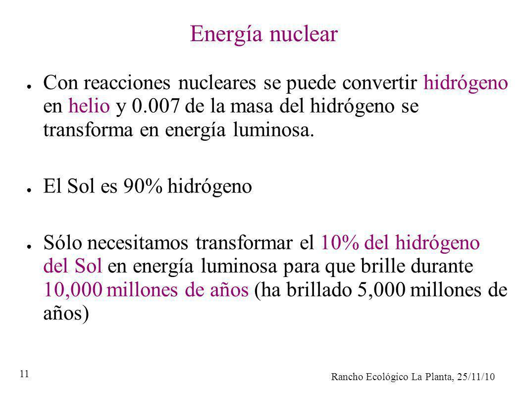Energía nuclear Con reacciones nucleares se puede convertir hidrógeno en helio y 0.007 de la masa del hidrógeno se transforma en energía luminosa.