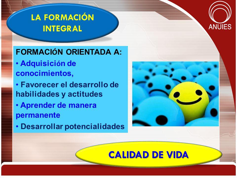 CALIDAD DE VIDA LA FORMACIÓN INTEGRAL FORMACIÓN ORIENTADA A: