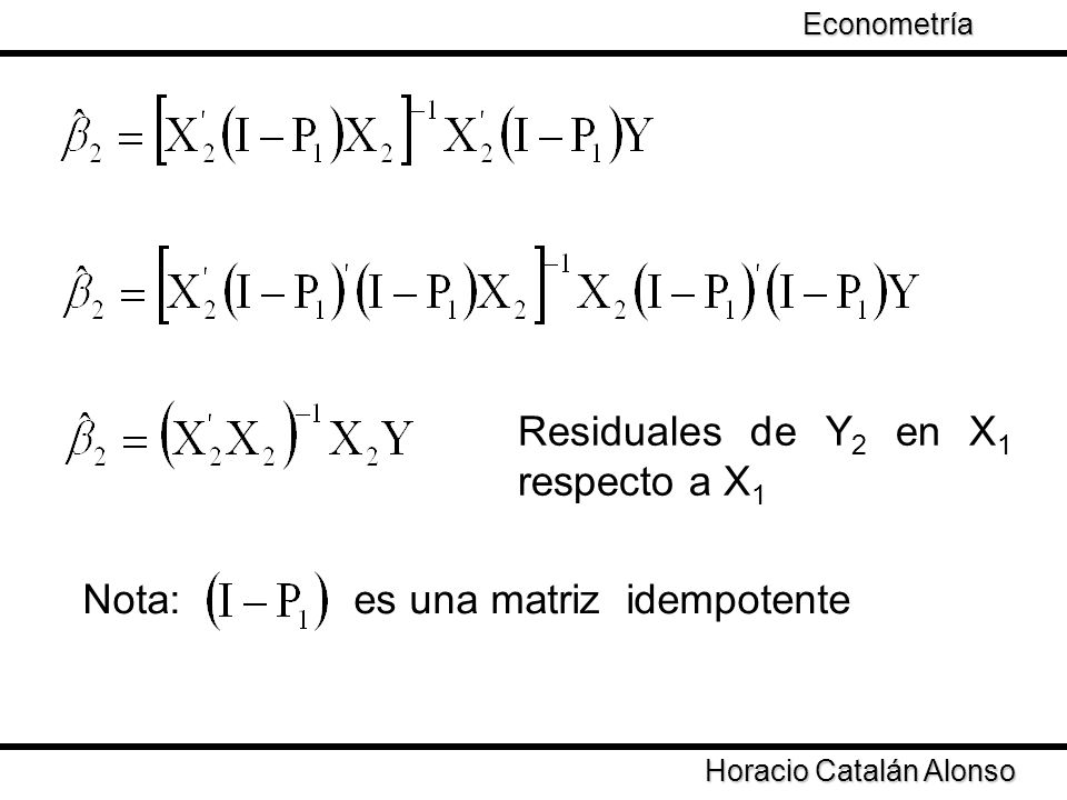 Residuales de Y2 en X1 respecto a X1