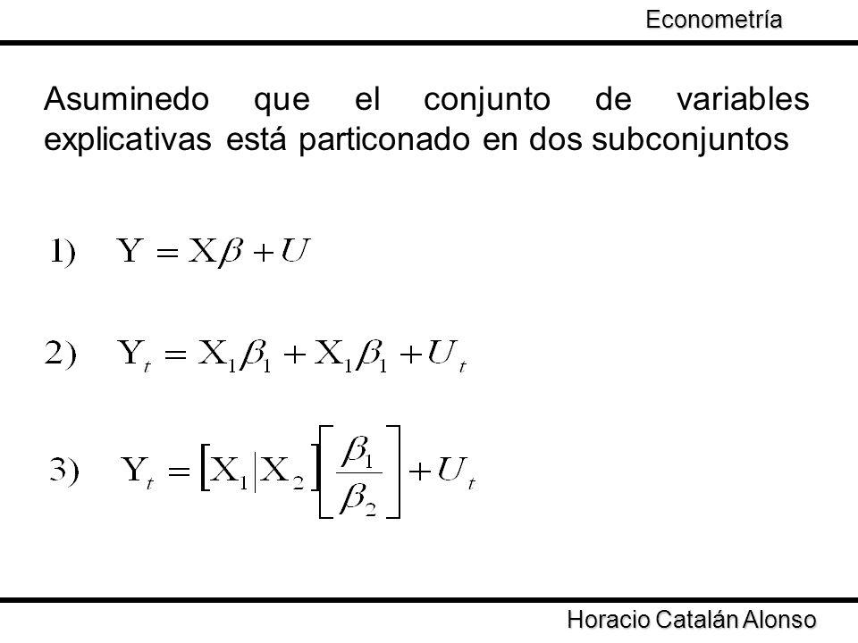 Econometría Taller de Econometría. Asuminedo que el conjunto de variables explicativas está particonado en dos subconjuntos.