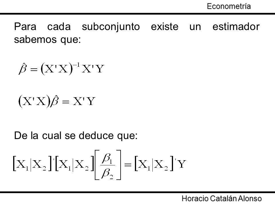Para cada subconjunto existe un estimador sabemos que: