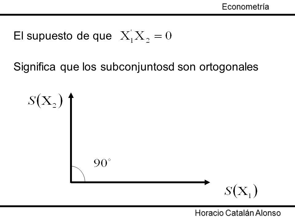 Significa que los subconjuntosd son ortogonales