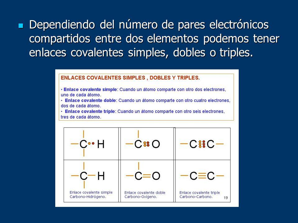 Dependiendo del número de pares electrónicos compartidos entre dos elementos podemos tener enlaces covalentes simples, dobles o triples.