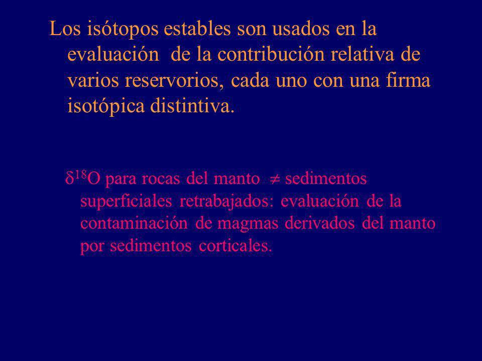 Los isótopos estables son usados en la evaluación de la contribución relativa de varios reservorios, cada uno con una firma isotópica distintiva.