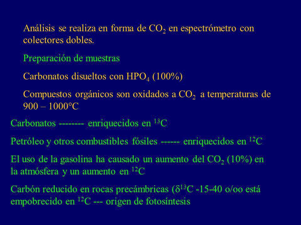 Análisis se realiza en forma de CO2 en espectrómetro con colectores dobles.
