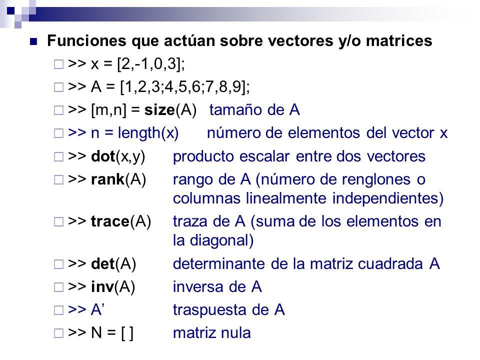 Funciones que actúan sobre vectores y/o matrices