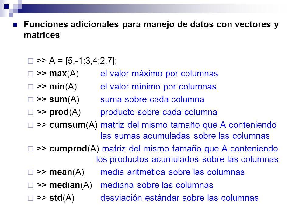 Funciones adicionales para manejo de datos con vectores y matrices