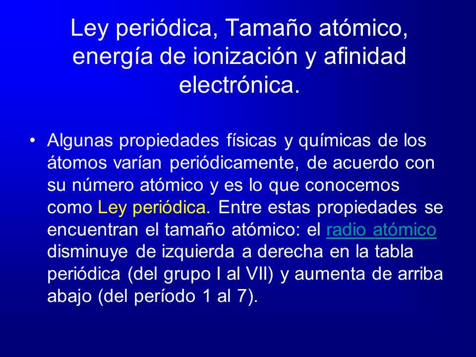 Ley periódica, Tamaño atómico, energía de ionización y afinidad electrónica.