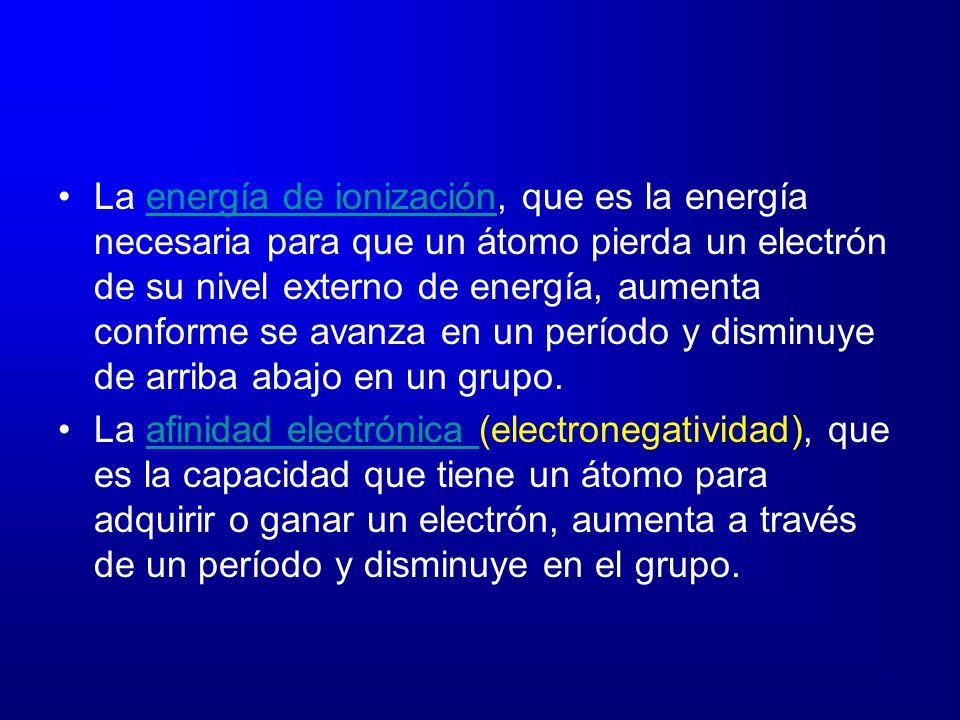 La energía de ionización, que es la energía necesaria para que un átomo pierda un electrón de su nivel externo de energía, aumenta conforme se avanza en un período y disminuye de arriba abajo en un grupo.