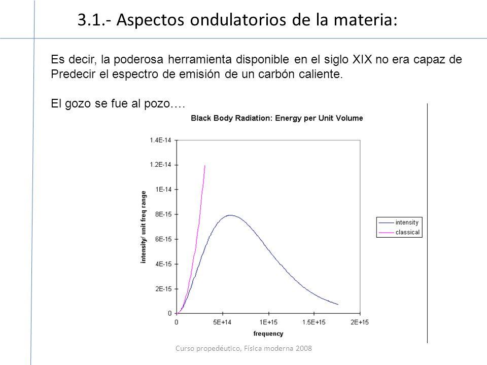 3.1.- Aspectos ondulatorios de la materia: