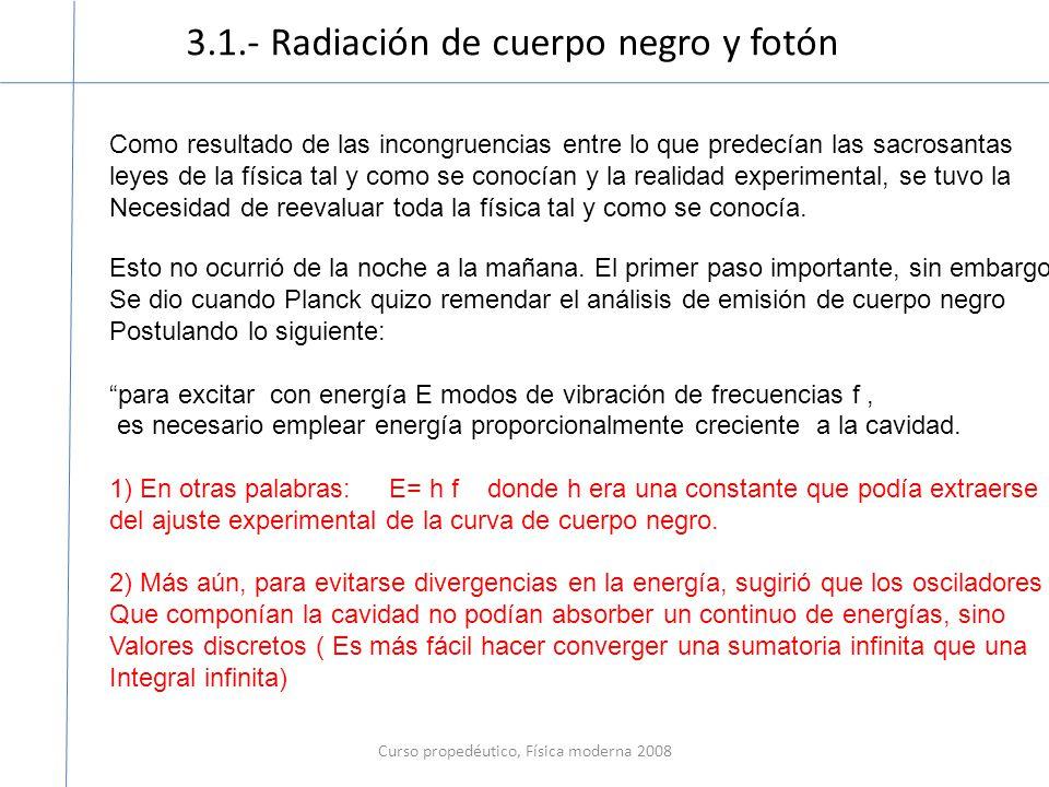 3.1.- Radiación de cuerpo negro y fotón