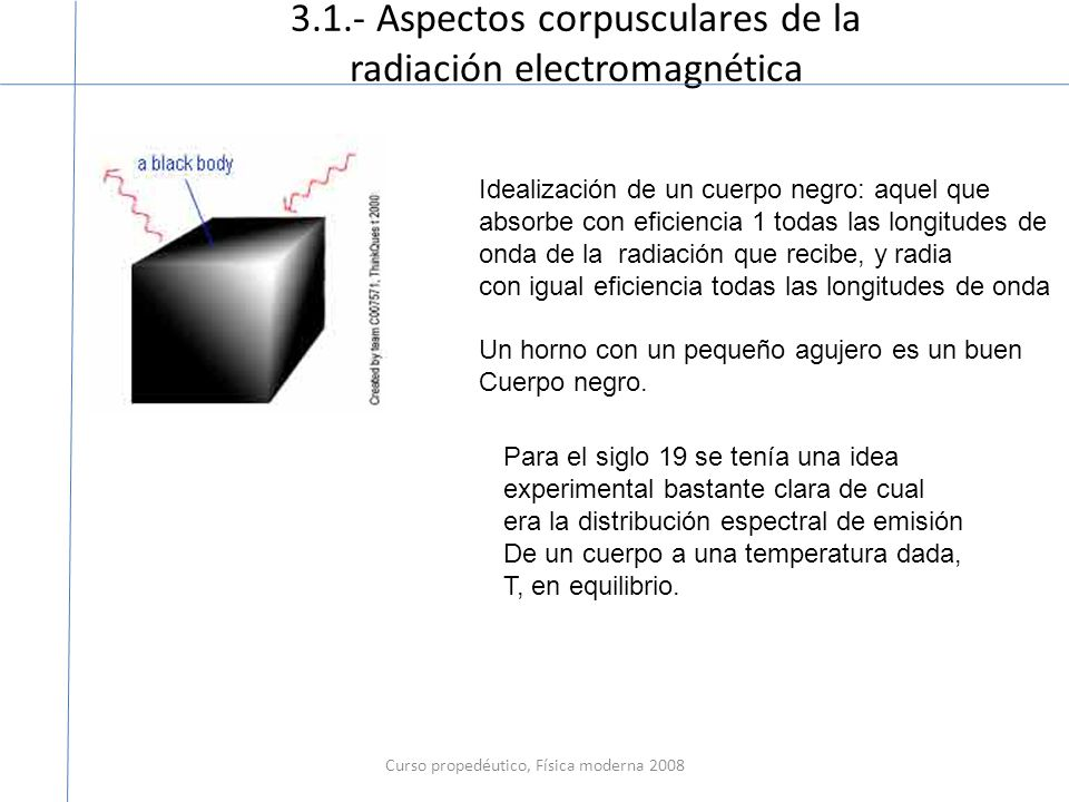 3.1.- Aspectos corpusculares de la radiación electromagnética