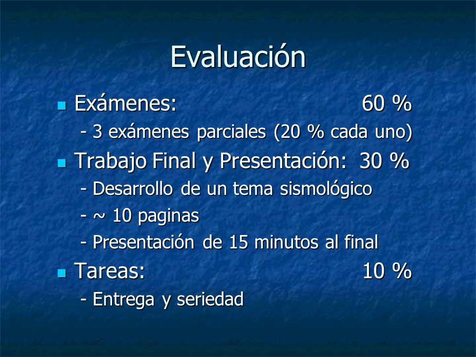 Evaluación Exámenes: 60 % Trabajo Final y Presentación: 30 %