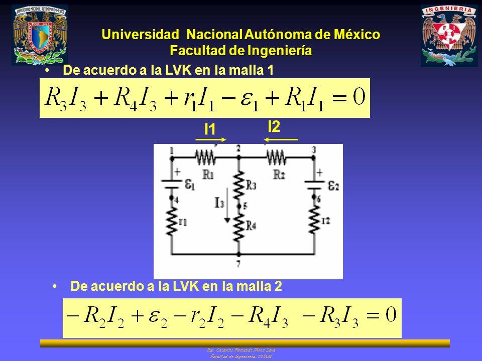 I2 I1 De acuerdo a la LVK en la malla 1