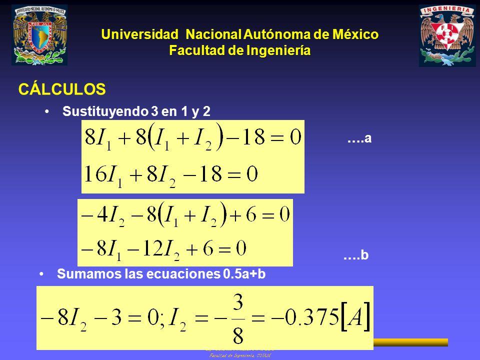 CÁLCULOS Sustituyendo 3 en 1 y 2 ….a ….b Sumamos las ecuaciones 0.5a+b