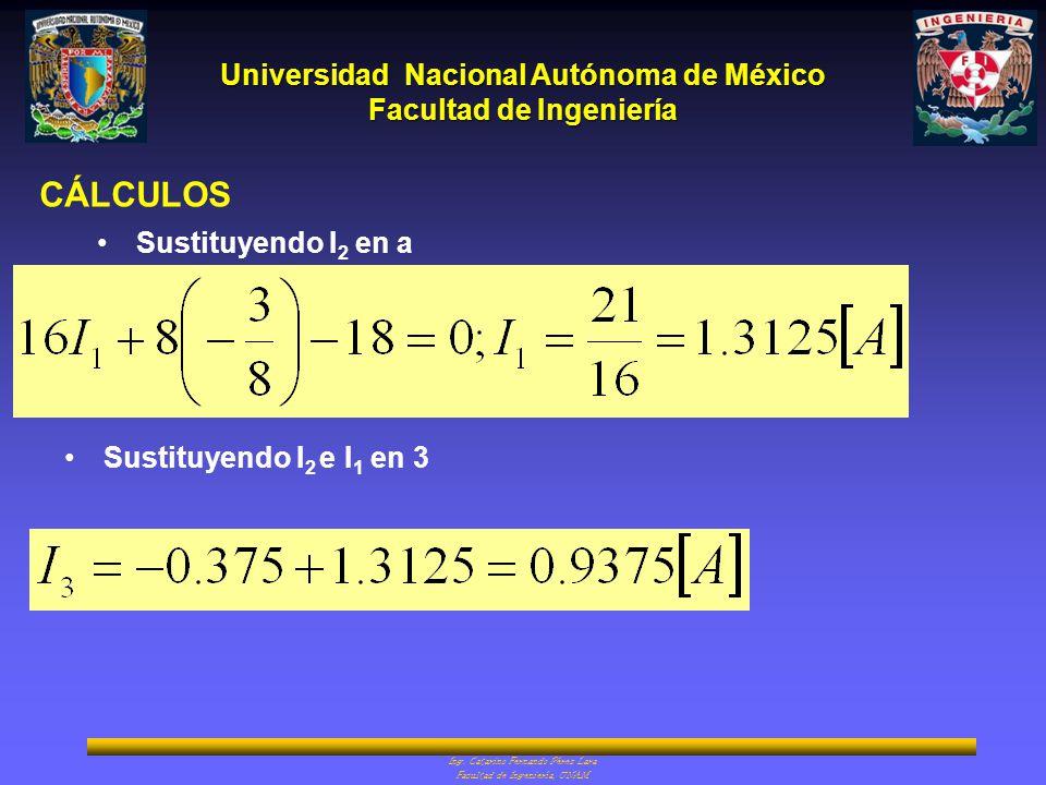 CÁLCULOS Sustituyendo I2 en a Sustituyendo I2 e I1 en 3