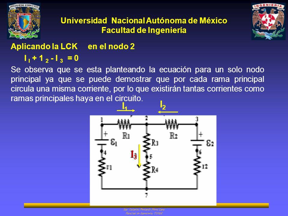 I2 I1 I3 Aplicando la LCK en el nodo 2 I I + 1 2 - I 3 = 0