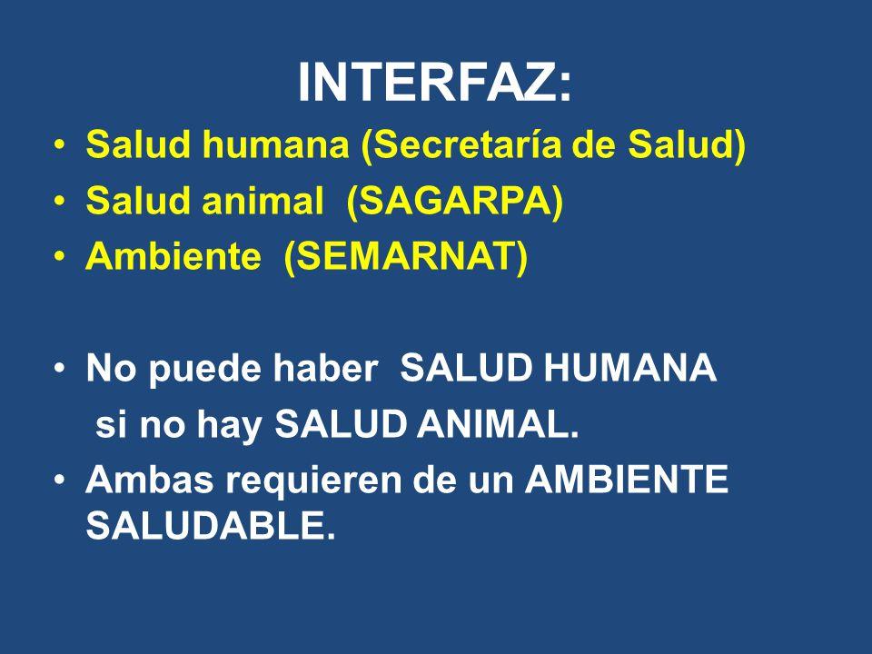 INTERFAZ: Salud humana (Secretaría de Salud) Salud animal (SAGARPA)