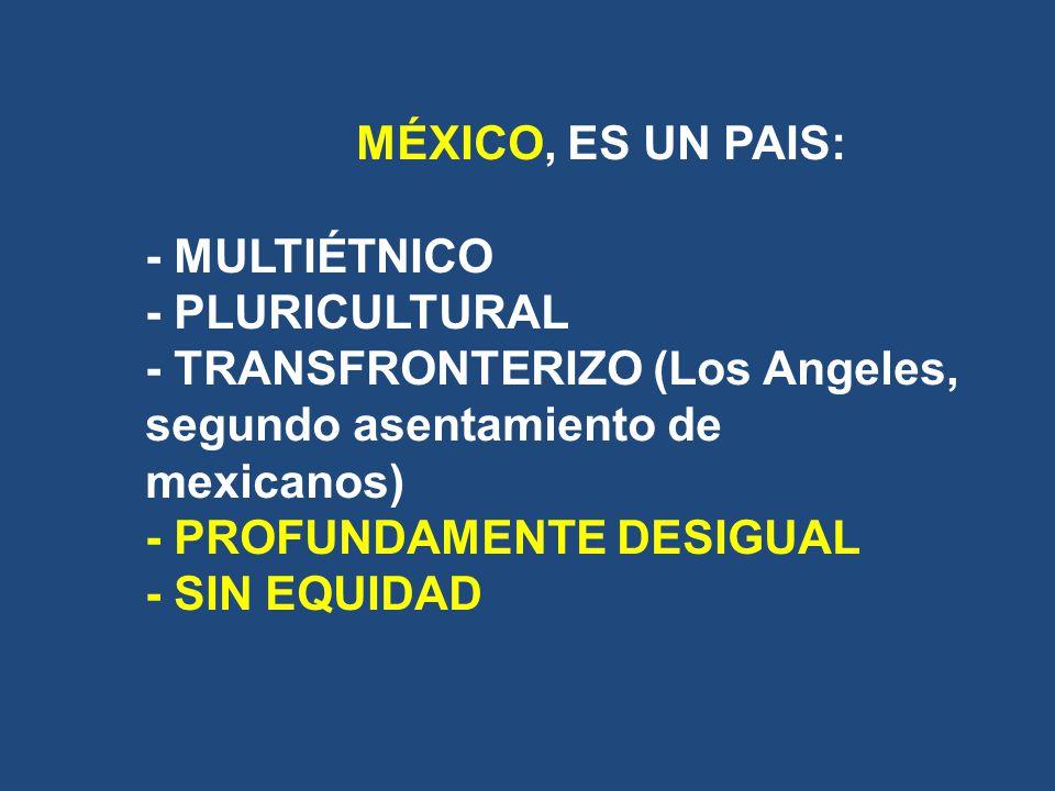 MÉXICO, ES UN PAIS:. - MULTIÉTNICO. - PLURICULTURAL