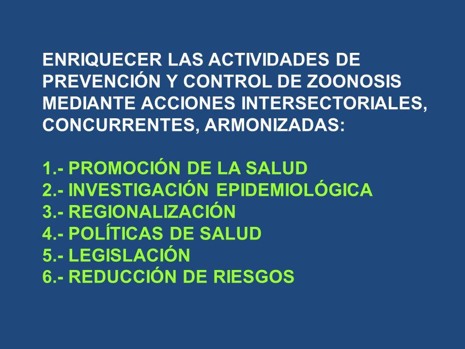 ENRIQUECER LAS ACTIVIDADES DE PREVENCIÓN Y CONTROL DE ZOONOSIS MEDIANTE ACCIONES INTERSECTORIALES, CONCURRENTES, ARMONIZADAS: 1.- PROMOCIÓN DE LA SALUD 2.- INVESTIGACIÓN EPIDEMIOLÓGICA 3.- REGIONALIZACIÓN 4.- POLÍTICAS DE SALUD 5.- LEGISLACIÓN 6.- REDUCCIÓN DE RIESGOS