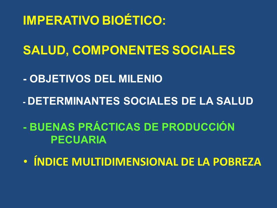 IMPERATIVO BIOÉTICO: SALUD, COMPONENTES SOCIALES - OBJETIVOS DEL MILENIO - DETERMINANTES SOCIALES DE LA SALUD - BUENAS PRÁCTICAS DE PRODUCCIÓN PECUARIA