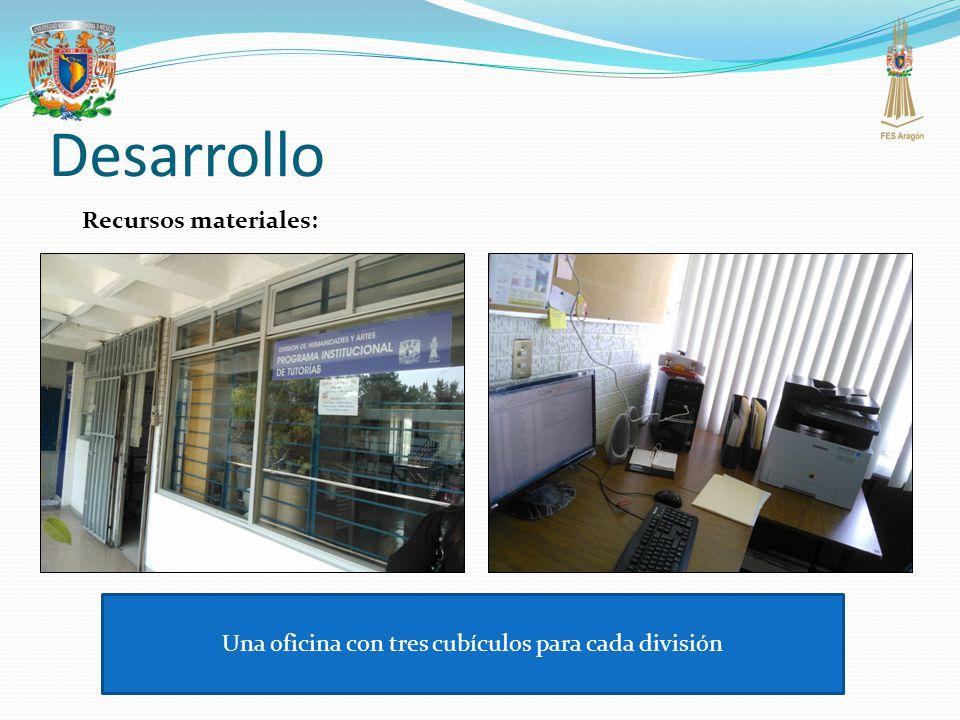 Una oficina con tres cubículos para cada división