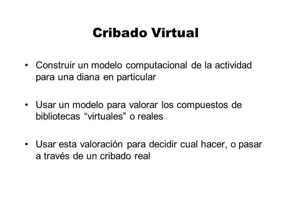 Cribado Virtual Construir un modelo computacional de la actividad para una diana en particular.