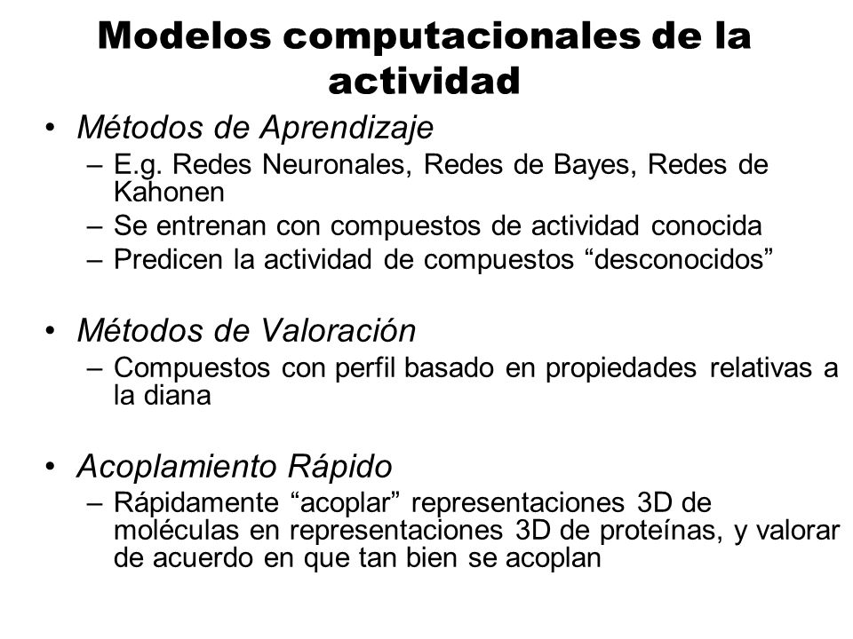 Modelos computacionales de la actividad