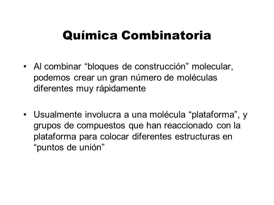 Química Combinatoria Al combinar bloques de construcción molecular, podemos crear un gran número de moléculas diferentes muy rápidamente.