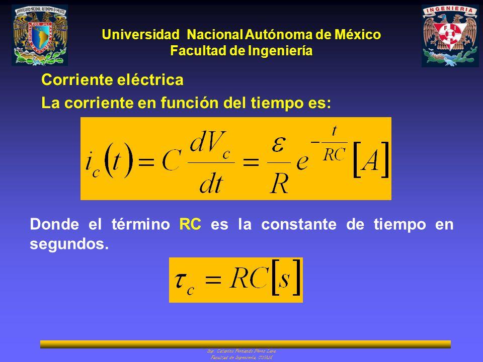 Corriente eléctrica La corriente en función del tiempo es: Donde el término RC es la constante de tiempo en segundos.