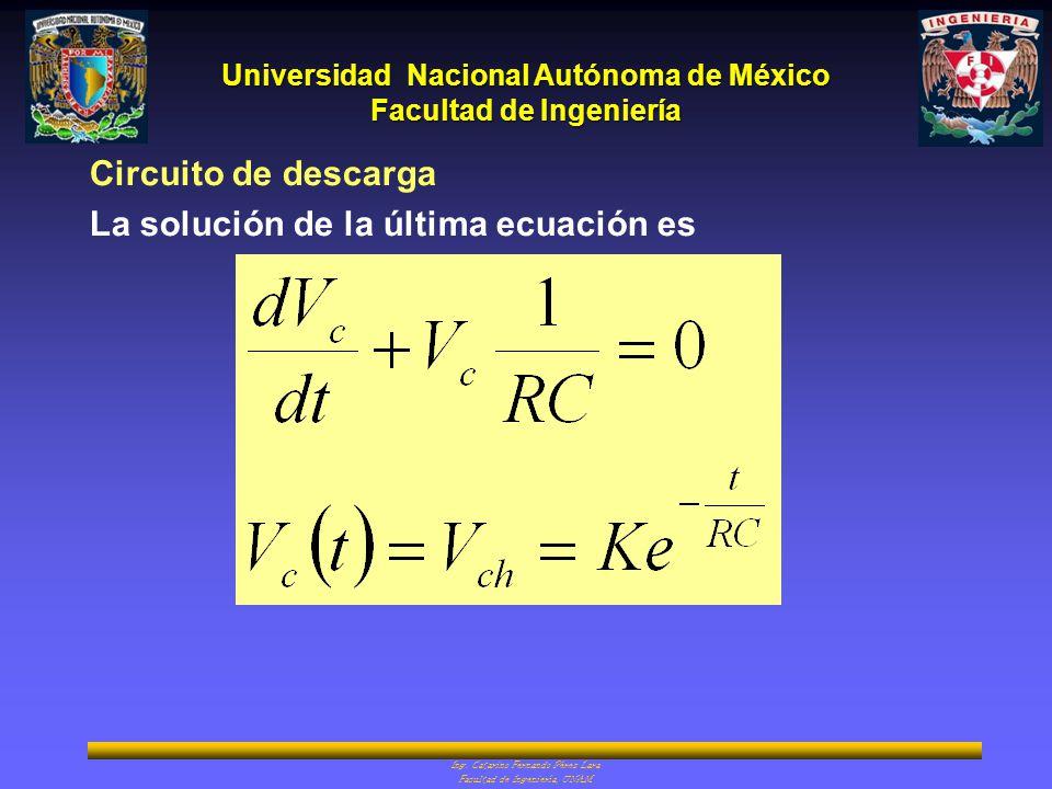 Circuito de descarga La solución de la última ecuación es