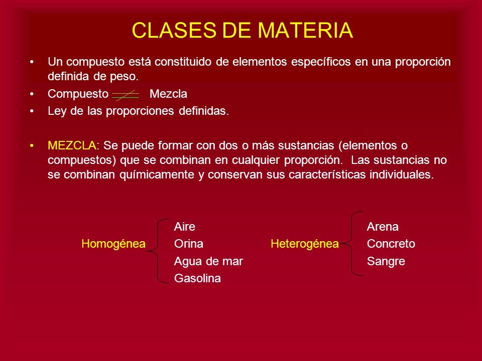 CLASES DE MATERIA Un compuesto está constituido de elementos específicos en una proporción definida de peso.