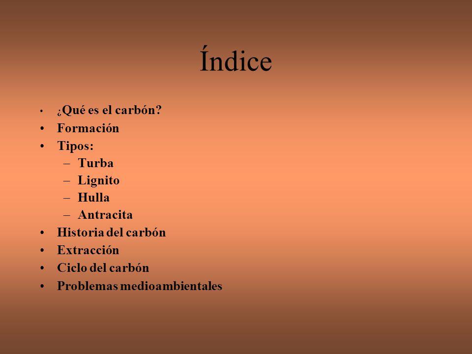 Índice Formación Tipos: Turba Lignito Hulla Antracita