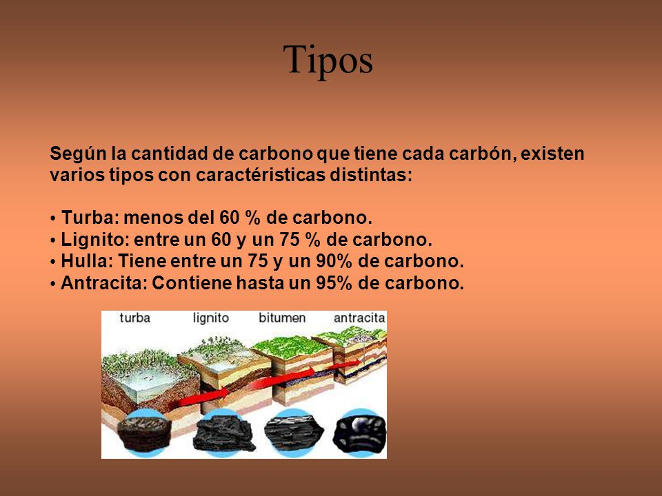 Tipos Turba: menos del 60 % de carbono.