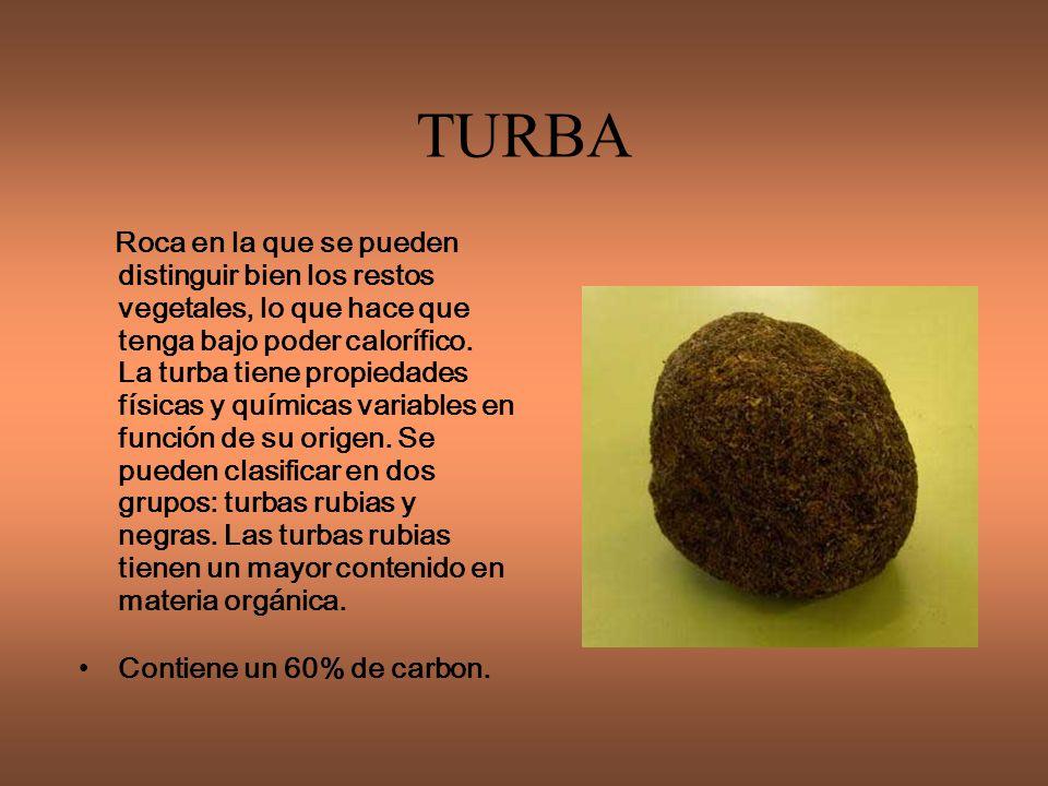 TURBA Contiene un 60% de carbon.