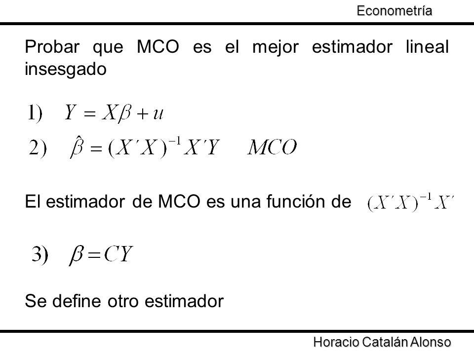 Probar que MCO es el mejor estimador lineal insesgado