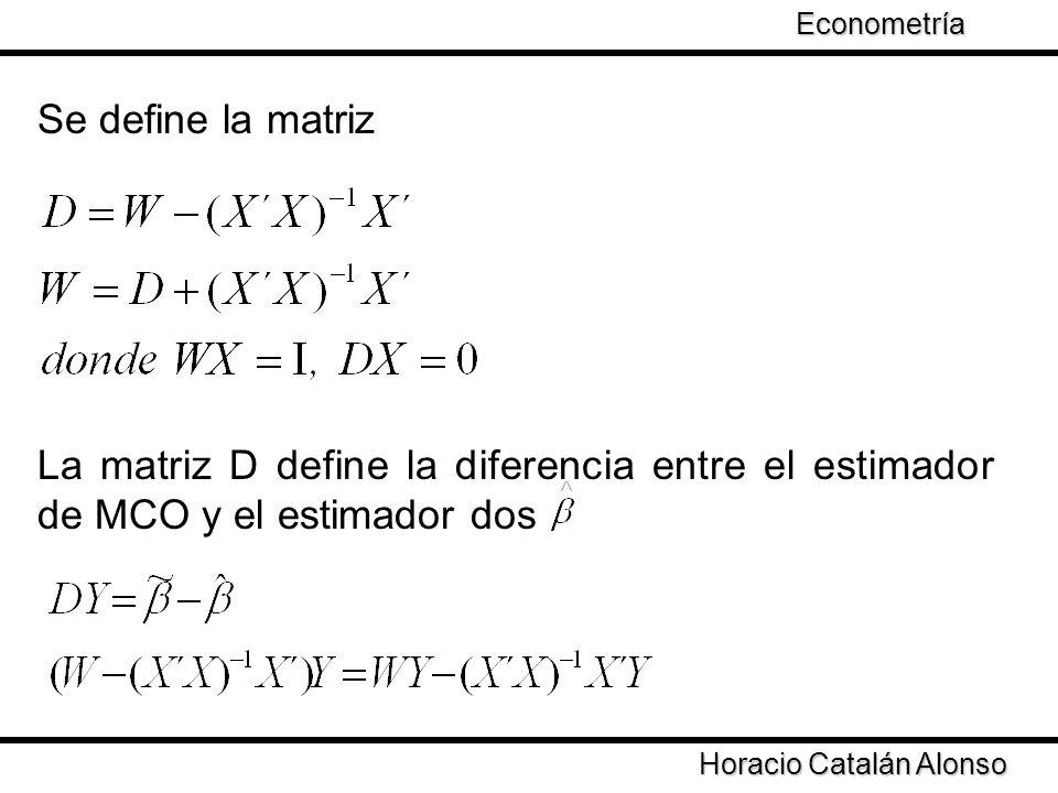 Econometría Se define la matriz. La matriz D define la diferencia entre el estimador de MCO y el estimador dos.