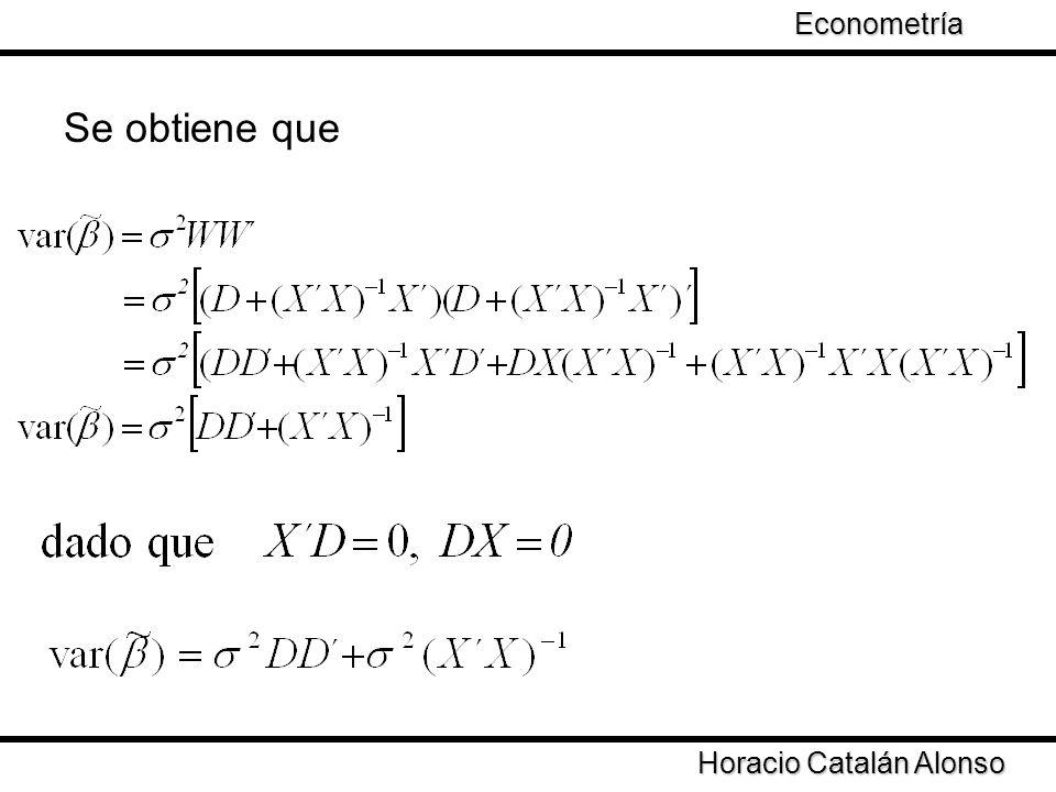 Econometría Se obtiene que Horacio Catalán Alonso
