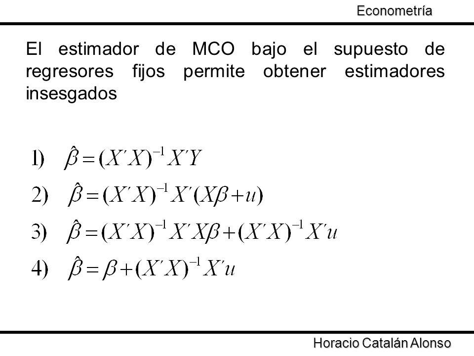 Econometría El estimador de MCO bajo el supuesto de regresores fijos permite obtener estimadores insesgados.