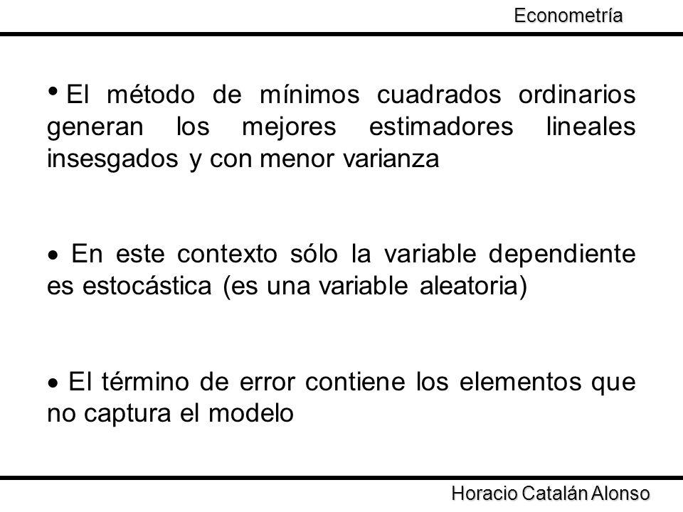 · El término de error contiene los elementos que no captura el modelo