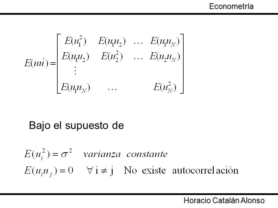 Econometría Bajo el supuesto de Horacio Catalán Alonso