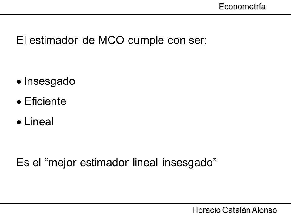 El estimador de MCO cumple con ser:
