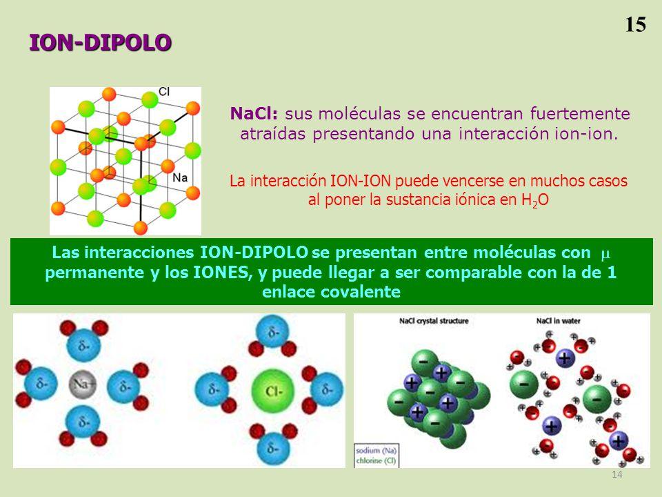 15 ION-DIPOLO. NaCl: sus moléculas se encuentran fuertemente atraídas presentando una interacción ion-ion.
