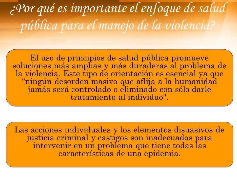 ¿Por qué es importante el enfoque de salud pública para el manejo de la violencia