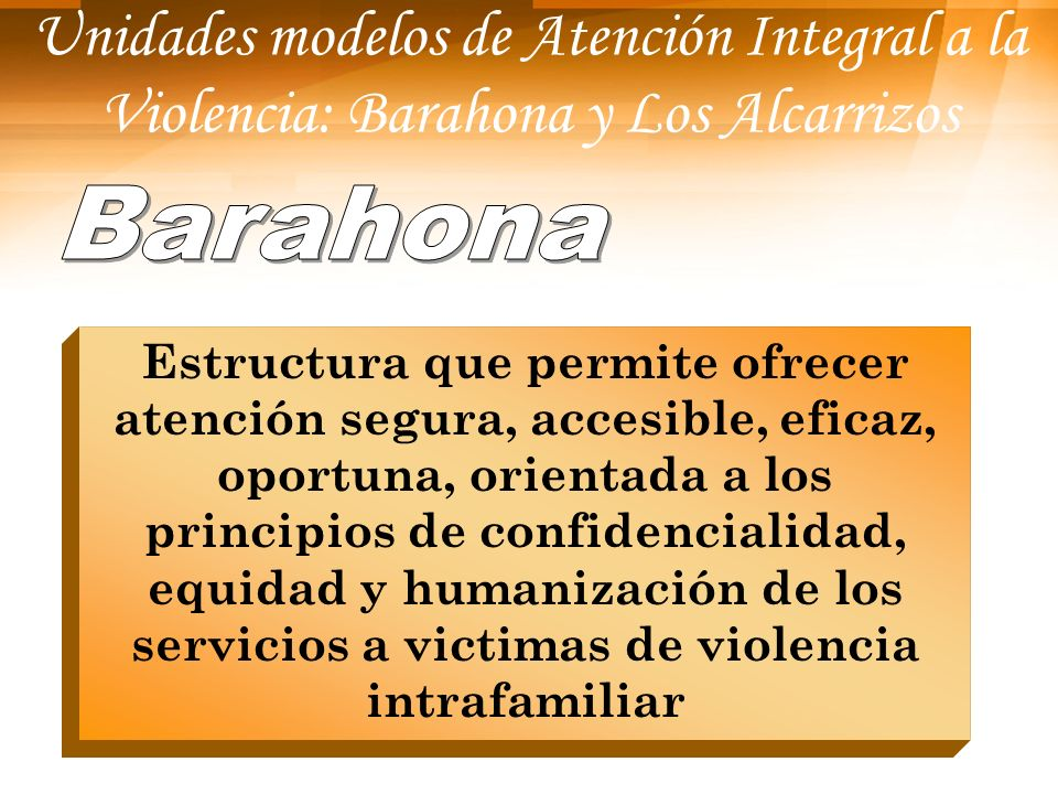 Unidades modelos de Atención Integral a la Violencia: Barahona y Los Alcarrizos