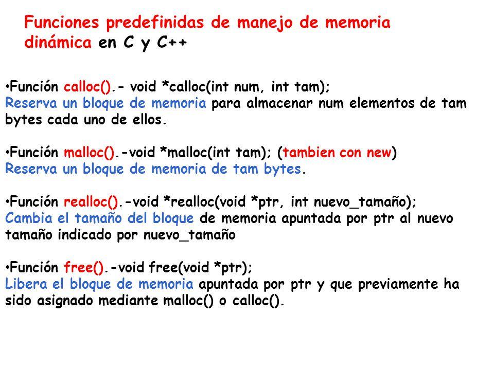 Funciones predefinidas de manejo de memoria dinámica en C y C++